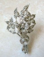 Vintage Marcasite Studded Flower Posy Brooch By BJL.